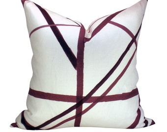 Kelly Wearstler Channels pillow cover in Plum/Oatmeal - ON BOTH SIDES