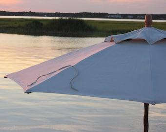 Coastal sunset photo   Market Umbrella at Magic Hour   Fine Art Photography Print   Greeting Card   Pink   Summer