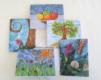 Note Card Set Original Art - Set of 5 Prints from Original Paintings with Envelopes