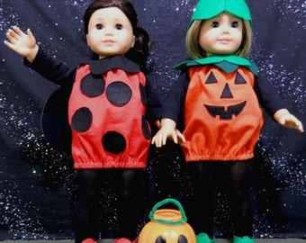 Pumpkin or Ladybug Halloween Costume for American Girl Dolls