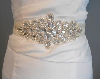 SALE    Bridal Sash, A Burst of Crystals Marquis And  Brilliant Oval Crystals Sash Wedding Dress Sash, Rhinestone Sash Satin Tie