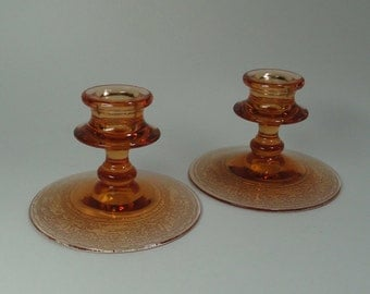 FOSTORIA Royal Etch CANDLE HOLDERS / Candlesticks - Amber