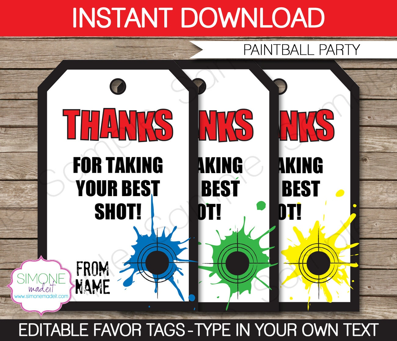 Paintball Party Invitations & Decorations full Printable