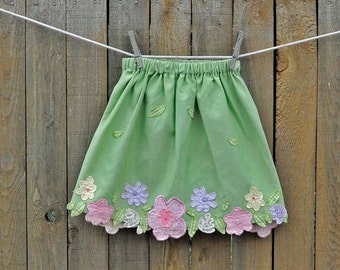 Girls Skirt, Easter green floral skirt, 6m,9m,12m,18m,2t,3t,4,5,6 eco-friendly, upcycled