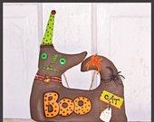 Fall Festival On Sale 25% Primitive Folk Art Whimsy Fall Witch Cat Doll Shelf Sitter Decor