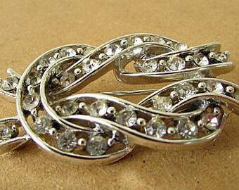 vintage 50s 60s Lisner double loop rhinestone brooch pin signed