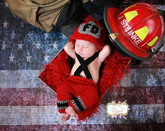 Newborn Fireman hat and pant set with removable/adjustable suspenders (can cross in front or back)
