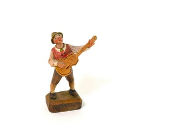 Vintage Anri Italy Hand Carved Wood Musician  // Small Carved Man Playing Guitar