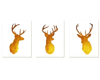 Gold Deer Antlers Prints Set - Modern Deer Print Set - Faux Gold Foil Deer Wall Art, choose colors, Golden Texture Poster, Woodland Animals