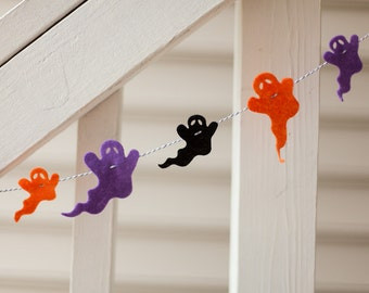 SALE Halloween Felt Ghost Garland with Orange, Black and Purple