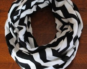 Black and White Chevron Infinity Scarf -- Crushed Velour = SUPER SOFT