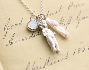 Frozen Charlotte necklace, handmade solid silver Frozen Charlotte