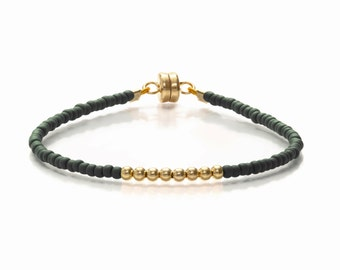 Matt Black & Gold Single Friendship Bracelet