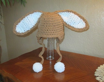 Warm Brown and White Easter Bunny Crochet Hat - Photo Prop - Available in Any Size or Color Combination