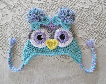 Lilac Purple and Aqua Colored Crochet Owl Hat - Photo Prop - Available in Any Size or Color Combination