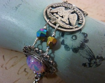 MEXICAN EAGLE silver COIN antique watch fob sterling  vintage assemblage bracelet