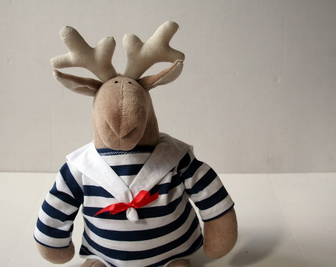Stuffed Sailor Reindeer wearing striped sweater, Soft toy for kids, Plush Elk Stuffed Toy