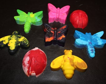 Recycled Crayons. Insect Crayons. Insect. Bug Crayons. Bugs. Kids Crayons. Party Favors. Set of 8 Crayons. Rainbow Crayons.