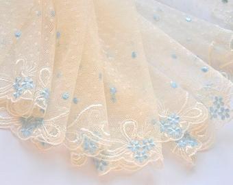 Ivory and Light  Blue Embroidered Floral Trim, Vintage Wedding, Bridal Lace, Wedding Dress, Veil, DIY Wedding