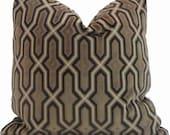 Quadrille China Seas Gorrivan Fretwork Cut Velvet Pillow Cover Square, Eurosham or Lumbar pillow Accent Pillow, Throw Pillow, Toss Pillow