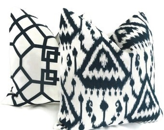 Schumacher Indigo Blue Vientiane Ikat Decorative Pillow Covers 18x18, 20x20 or 22x22, or Lumbar Pillow - Toss pillow, Accent pillow