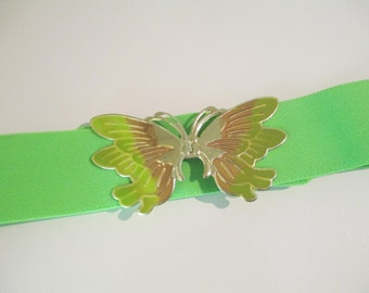 Vintage Neon Green Stretch Elastic Butterfly Belt DEADSTOCK