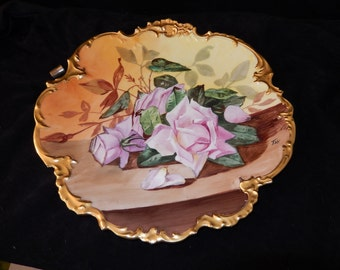 """LIMOGES FRANCE CHARGER Plate Pink Roses gold scalloped edges-Large 12"""" French cottage chic collectible porcelain dish- France"""