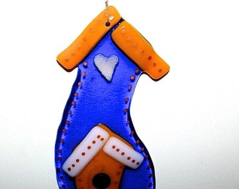 Birdhouse Fused Glass Ornament