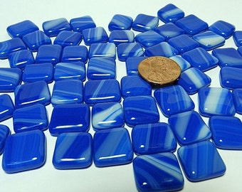 Kiln Formed Streaked Blue and White Glass Bubbles 60 Pieces (B642)