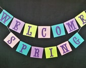 Spring banner Easter garland Classroom Home Decor Photo Prop Turquoise Lavender Lime Green Pink