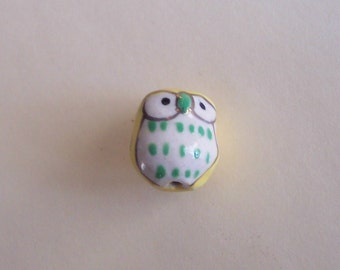 Lot of 3 Ceramic Handpainted Owl Beads Yellow Green Gold and White Presented