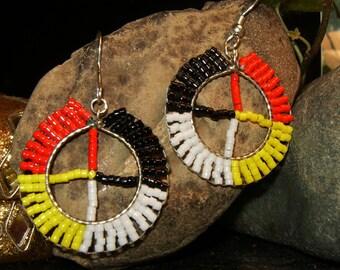 Native American style handmade beaded medicine wheel earrings