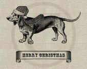 Christmas Dachshund Instant Download Digital Image No.150 Iron-On Transfer to Fabric (burlap, linen) Paper Prints (cards, tags)