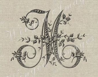 Antique French Monogram Letter M Instant Download Digital Image No.229 Iron-On Transfer to Fabric (burlap, linen) Paper Prints (cards, tags)