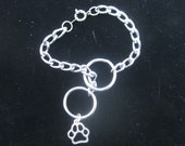 Obedience Choke Chain Bracelet, With Paw Print Charm