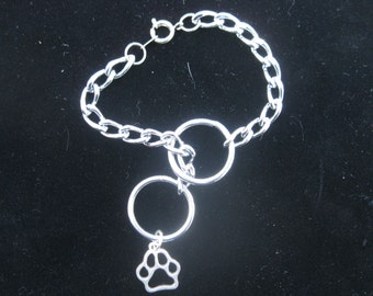 Obedience Choke Chain Bracelet, With Paw Print Charm