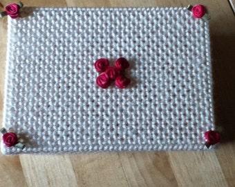 Plastic canvas rose trinket box