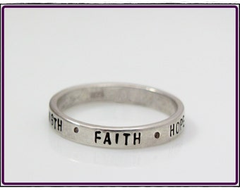 Hand Stamped Ring- inspirational words- stackable sterling silver -Size 5, 6, 7, 8, 9, 10
