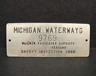 Vintage 1966 Michigan Waterways Boat Maximum Passenger Metal Plate Tag Sign