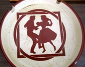Vintage Country Western ashtray coaster square dance dancers round ceramic tan brown dancing silhouettes made in Japan collectible dish
