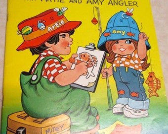 """Vintage color activity book  """"Goin 'Fishin'!""""  children's coloring book 1980's pictures Artie and Amy Angler child kid decor"""