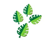 Tropical leaf die cuts - set of 4 (2 in.) - you select your colors (C21)