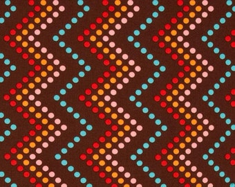 85064 -  Michael Miller - Heaven & Helinskii  zig zag dot in chocolate color- 1 yard