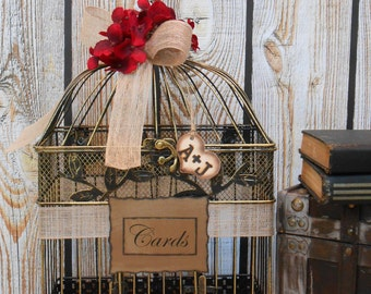 Birdcage Wedding Card Holder / Rustic Birdcage / Burlap Wedding Birdcage / Wedding Cardholder / Large Birdcage / Rustic Wedding / Card Box