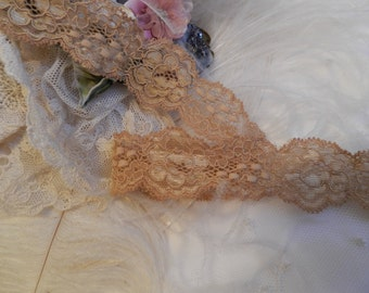 5 yds Stretch Lace - Gorgeous Gold Stretch lace- Lingerie Garters Headbands Weddings Elastic Lace