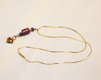 Gold Chain With Purple Beads and Golden Heart Necklace