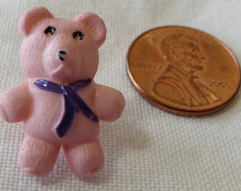 """5 Sm pink realistic teddy bear buttons, standing, possible polymer composite, blue scarf, shank back. 0.65"""" ins approx. HMFR13.6-19.74"""