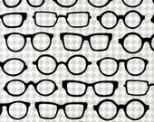 LAMINATED cotton fabric by the yard - BACK laminate cotton PUL - Eye glasses Grey houndstooth eXCLUSIVE