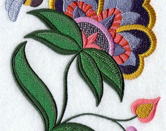 Jubilent Jacobean Bloom and Bee Embroidered Flour Sack Hand/Dish Towel