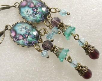 Heart And Flower Design Cameo Long Dangle Earrings - Purple Teal